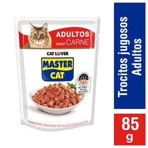 Alimento-humedo-gato-Master-Cat-trocitos-jugosos-carne-85-g